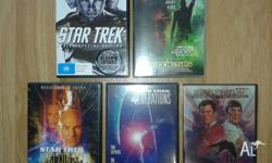 5 STAR TREK DVD movies. - 6 DVD's in all. All in As new