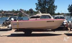 Savage half cabin for sale . 5m 100hp evinrude starts