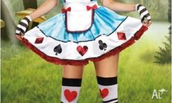 Brand New 5pc Alice In Wonderland / Fairy Tale Costume