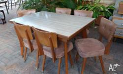 Original 1960s extendable wood and formica table, 6