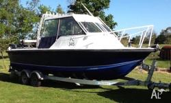 6.8m plate alloy boat with twin Yamaha 90HP 2-stroke