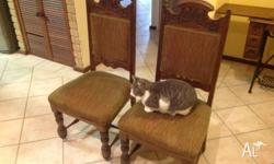 Hi, I'm selling these 6 antique dining chairs.