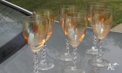 6 Amber Crystal Sherry � Port � Wine Glasses with