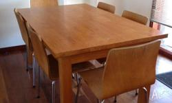 Dining table with draw in it att one end, 6 chairs with