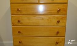 Tall Boy / Chest of Drawers - Pine. In excellent