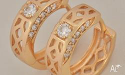 9K GOLD FILLED CZ OPENWORK HOOP EARRINGS METAL: 9K GOLD