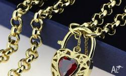 9K GOLD FILLED WOMEN'S RUBY FILIGREE HEART VINTAGE