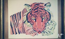 Framed Tiger Ilustration by doublfox A3 Horizontal with