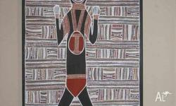 ABORIGINAL MAN PAINTED BY - BRENDA MUNGURRI FROM