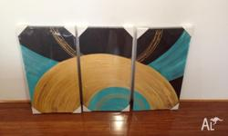 Brand New 3 Piece Abstract Oil Canvas Length: all three