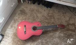 acustic guitar 6 strings suit beginner pink near new