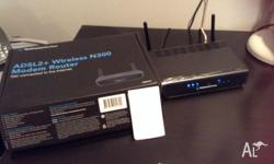 Wireless ADSL router with 4 Ethernet ports. Comes with