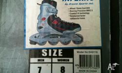 Adult inline skates size 7 men or 8 woman Good