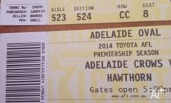 2 tickets seated together for sold out match to crows