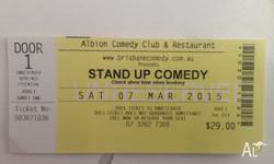 4 x tickets to stand up comedy at albion comedy club