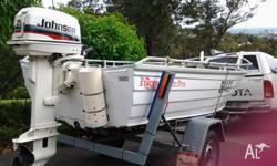 3.9 Stacer fitted with 25HP johson outboard on trailer.