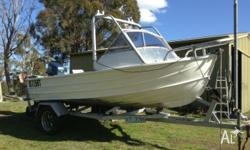 13.8 ft, with 50hp, 2 stroke Yamaha. Good reliable