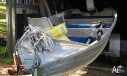 12 foot ally dinghy with hin no. & reg trailer.8 hp