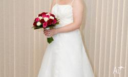 Wedding dress size 12-14 with detailed beading, shoe