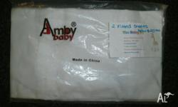 Amby baby fitted sheets white only 2 sheets per pack 6