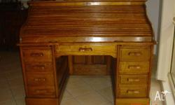 Late 1800's American Oak Roll top desk. 1500 wide x