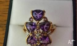Beautiful Amethyst and Gold Ring size 8 Bought but not