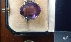 9ct yellow gold hand made amethyst ring. The amethyst