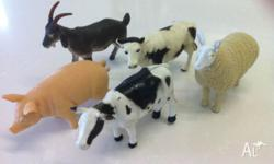 Collection of plastic arnimals - cows, horses, sheep,
