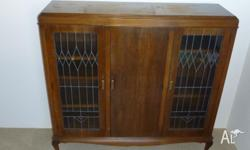 Antique - 3 Door Leadlight Walnut Bookcase or China