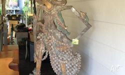 One off piece Balinese Puppet on sta d and wheels