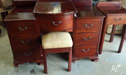 Antique bedside dresser,with seat and a side table in
