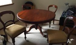 Antique dining table and four chairs for sale - table