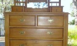Antique Dressing Table / Chest of Drawers. H 189cm x W