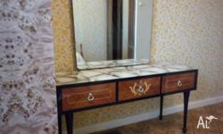 ANTIQUE DRESSING TABLE WITH MIRROR MARBLE LOOK GLASS