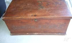 Fabulous original elm coffer, with brass escutcheon and