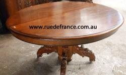 ANTIQUE FRENCH CARVED OAK SIDE TABLE or SMALL DINING