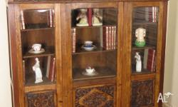 Antique French Oak Bookcase / Display Cabinet / China