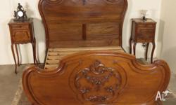 Antique French Walnut Double Bed (complete with Bed