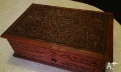 Hand carved Vintage Jewellery box with green velvet