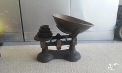 Cast iron and brass Antique Market scales, comes with
