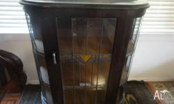 Old 1930's China Cabinet with LEAD light pannels, 3