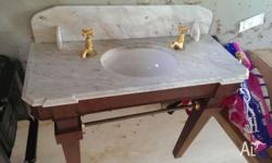 ANTIQUE MARBLE VANITY WITH ROYAL DOULTON BASIN. Shaped
