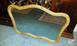 Gold framed Antique Mirror in good condition. 100 cm
