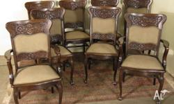 Antique Oak Dining Chairs, set of 8 (chairs x 6 and