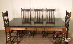 Antique Jacobean Oak 2-leaf Extension Dining Table