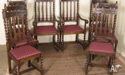 Antique Jacobean Oak Dining Chairs, set of 8 (chairs x