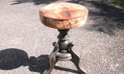 ANTIQUE PAINO STOOL SWIVEL WITH CARPET TOP THIS WAS
