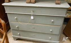 ANTIQUE EUROPEAN ( SWISS ) PINE - CHEST OF DRAWERS