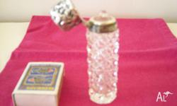 Crystal perfume bottle with embossed sterling silver