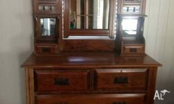 Antique Hoop Pine Dressing Table Features: One large